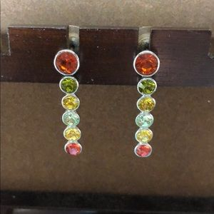 Authentic Swarovski earrings. Red. Green. Yellow.